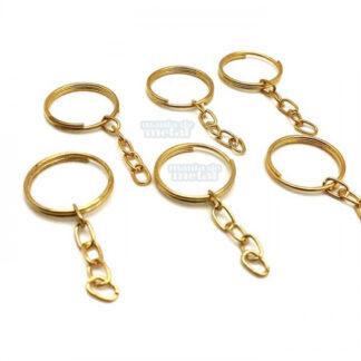 306d8e25803d6 Argola Dourada 22mm para chaveiros e brindes com corrente correntinha e  terminal elo